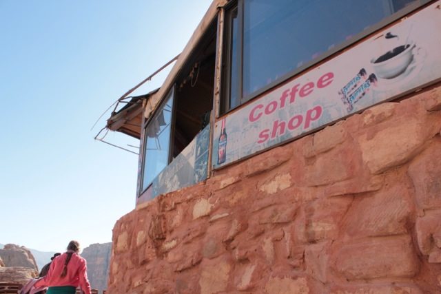 Shop on our hike to the monastery, Petra, Jordan, offering coffee, snickers and Bavarian beer.