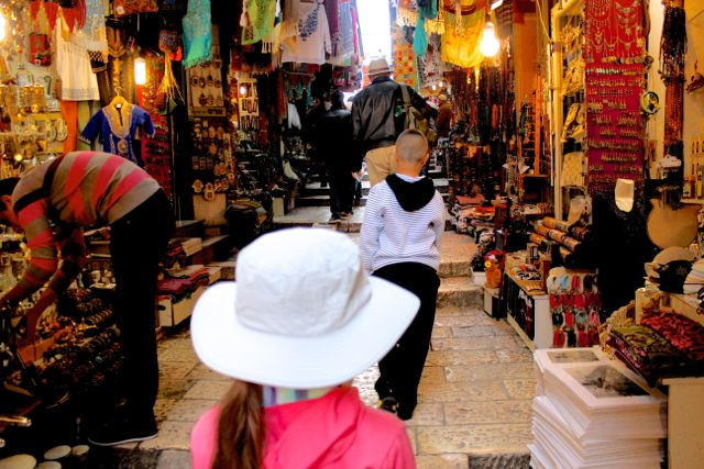 Libby leads the way through the souk in Jerusalem.