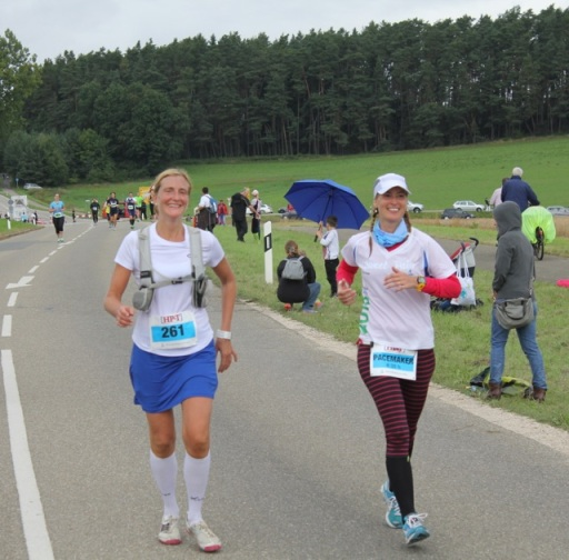 Kristina and I approaching the finish line