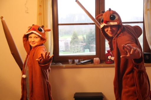 The boys in their 'Jedi' Reindeer robes