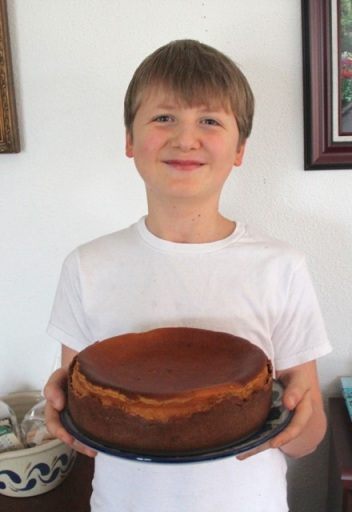 Noah & the pumpkin cheesecake he helped to make